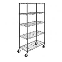China 5-Shelf Shelving Storage Unit on 4'' Wheel Casters Metal Organizer Wire Rack for sale