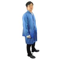 Buy cheap Cleanroom Lab Blue White Static Dissipative ESD Smock from wholesalers