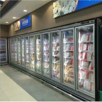 China Seafood / Meat Supermarket Glass Door Merchandiser Freezer With Fan Cooling on sale