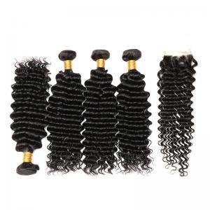 Wholesale Natural Black 100% Brazilian Virgin Hair / Deep Curly Human Hair Bundles from china suppliers