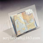China Perspex bent book stand, desktop transparent acrylic brochure holder for sale