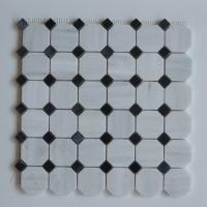 Arabescato Carrara White Italian Stone Mosaic Tile With Octagon Black Dots
