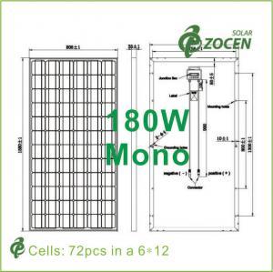 Best PV 180W 1000V 36V Roof Mounted Solar Panels , Shading tolerance Mono Crystal Solar Panel wholesale