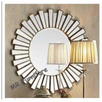 36 Inch Wooden Strips 3d Mirror Wall Art, Modern Wood Framed Wall Mirrors for sale