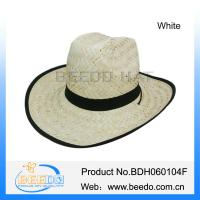 Wholesale 2015 hot selling men wide brim roll brim kwai straw cowboy hat with grosgrain ribbon from china suppliers