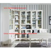 Wholesale Reading room Neoclassical Furniture by White Bookcase set with glass door and Computer working desk from china suppliers
