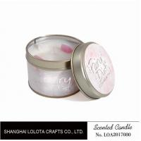 Wholesale Small Soy Tealight Candles , Tin Can Candles Raspberry / Amber Fragrance from china suppliers