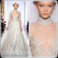 China 2014 Vintage Zuhair Murad Plus Size Designer Wedding Gowns High Neck Lace A Line on sale