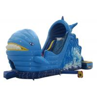 China Children Entertainment Large Inflatable Slide Dolphin Boat Inflatable Floating Water Slide for sale