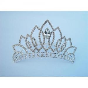 China Silvery bridal wedding crown with crystal & diamond   C-21 on sale
