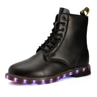 Wholesale USB shoes charging shoes LED lights shoes men boots all sizes pu uppper RB sole black or brown from china suppliers