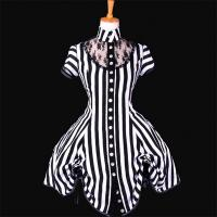 Wholesale Medieval Dress Wholesale XXS to XXXL Custom Made Black and White Stripe Ball Gown Medieval Victorian Dress from china suppliers