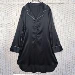 China Sexy Black Women Pyjama Set , Long Sleeves Soft Ladies Satin Pyjamas for sale