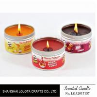 Wholesale Small Exquisite Wax Scented Tin Candles Round Sticker For Travel And Festival from china suppliers