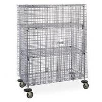 China Cold Steel Galvanized Mobile Wire Security Cages Three Shelves For Hotel Transship for sale