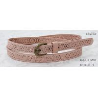 Wholesale Old Brass Buckle Pink PU Ladies Stretch Belts With Punching Patterns from china suppliers