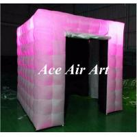 Wholesale beautiful black interior cube inflatable booth with led lights, two doors photo booth tent inflatable for events from china suppliers