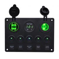 China Boat Marine Rocker Switch Panel 5 Gang Waterproof Toggle Switches with 4.2A Dual USB Socket Digital Voltage Cigarette Li on sale