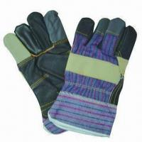 Furniture Leather Safety Gloves in Rainbow Color, with Pasted Cuff and Stripe Back for sale