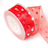 China Red Polyester Printed Sheer Ribbon With Foil Gold Gifts Wrapping 22mm Width for sale