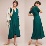 China Western Women Elegant Short Sleeve Long Green Wrap Dress Midi Dresses Wrap for sale