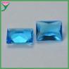 Wuzhou Wholesale Sapphire Blue Aquamarine Rectangle Crystal Glass Gemstone for sale