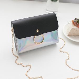 China RTS high quality fashion mini outdoor sequin Messenger handbag girls leisure crossbody square laser chain shoulder bag on sale