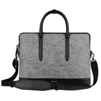 Environmental Large Messenger Business Laptop Bags Wool Felt with Leather Handle / Bottom