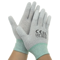 Wholesale Nylon 40D Carbon Yarn 240D PU Fingertips ESD Gloves from china suppliers