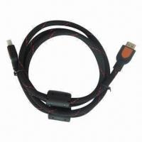 Buy cheap HDMI V1.4 A/A Cable with Black/Blue Braid and Dust-free Cap from wholesalers