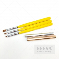 Buy cheap 3 Sizes New Yellow Wooden Handle Short Hair Mini Oval Gel Nail Brush from wholesalers