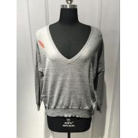 Wholesale Softness Cotton Cashmere Ladies Deep V Neck Pullover Knitted Back Panel Leaf Printing from china suppliers