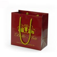 China Red Color Handmade Branded Paper Bags With Your Own Logo Printing for sale