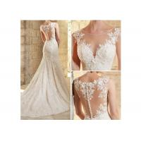 China Ivory Flower Lace Fishtail Wedding Gown / Mermaid Lace Bridal Gowns for sale