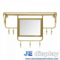 China Stainless steel wall mounted racks with mirror in brass coating Special design by hand made high end metal fixture on sale