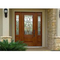 China Exterior Solid Wood Door Front Entry Inswing / Outswing Opening With Sidelites Open Door on sale