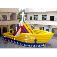 Wholesale 6 Mts High Victory Ship Shape Inflatable Slide Playground With Colorful Flags from china suppliers
