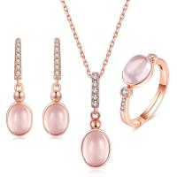 Buy cheap CZ Natural Rose Quartz Pendant Necklace Ring Earrings Women's Jewelry Sets from wholesalers