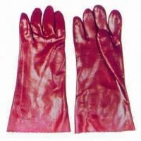 China 27-45cm Safety Gloves, Red PVC-dipped/-coated/Smooth Finish/Long Cuff/T/C/Interlock Lining/CE Mark for sale