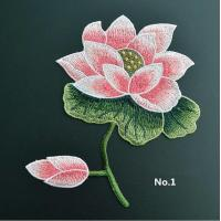 China Large Embroidered Flower Patches , Sew On Embroidered Appliques On Lace Fabric on sale
