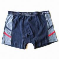Wholesale Boxer Shorts, Made by Bamboo Charcoal and Copper Yarn, Anti-bacterial from china suppliers
