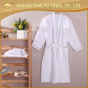 China Luxury kimono 100% cotton white waffle spa robe for hotel bathroom on sale