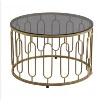 Wholesale Round Stainless Steel Frame Tempered glass top End Table Coffee table from china suppliers