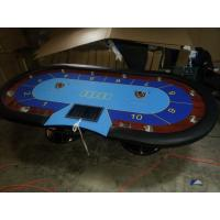 Wholesale Blue Wooden Oval Baccarat Texas Holdem Poker Table Steel Legs Poker Gaming Table from china suppliers