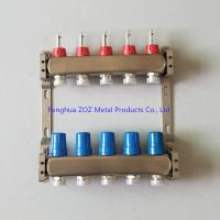 China 5 Port Stainless steel water underfloor heating manifold , 304 stainless steel intelligent water manifolds for sale