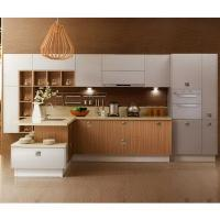 Best Painting White Solid Wood Kitchen Cabinets With Wood Color Melamine Kithcen Doors wholesale