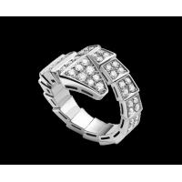 Best Bvlgari  Serpenti 18 kt white gold ring with full pavé diamonds Ref. AN855116 wholesale