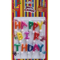 Wholesale Multi-colors Happy Birthday Letter Candles with Holders (ZMC0017) from china suppliers