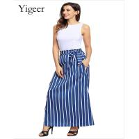 China High Waist Tie or Elastic Tie Vertical Stripe Skirt for sale