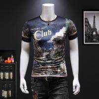Wholesale 2019 Men's New Latest Fashion Design Printed Slim Fit Short Sleeve T Shirt from china suppliers